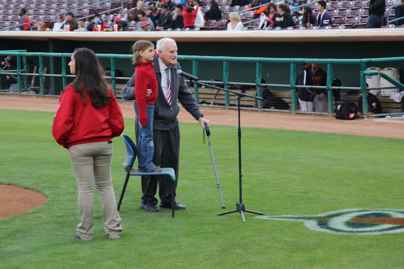 89 1/2 year old Norm and great granddaughter 7 1/2 year old Sydney sang the National Anthem for the Inland Empire 66ers baseball game - 23