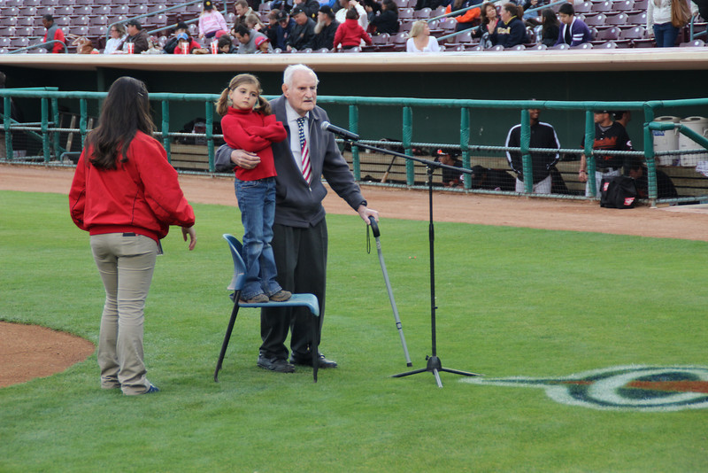 89 1/2 year old Norm and great granddaughter 7 1/2 year old Sydney sang the National Anthem for the Inland Empire 66ers baseball game - 24