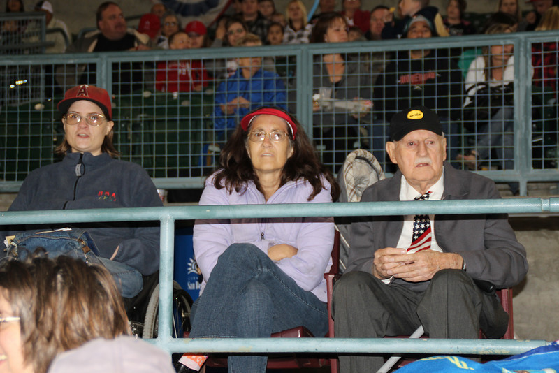 89 1/2 year old Norm and great granddaughter 7 1/2 year old Sydney sang the National Anthem for the Inland Empire 66ers baseball game - 35