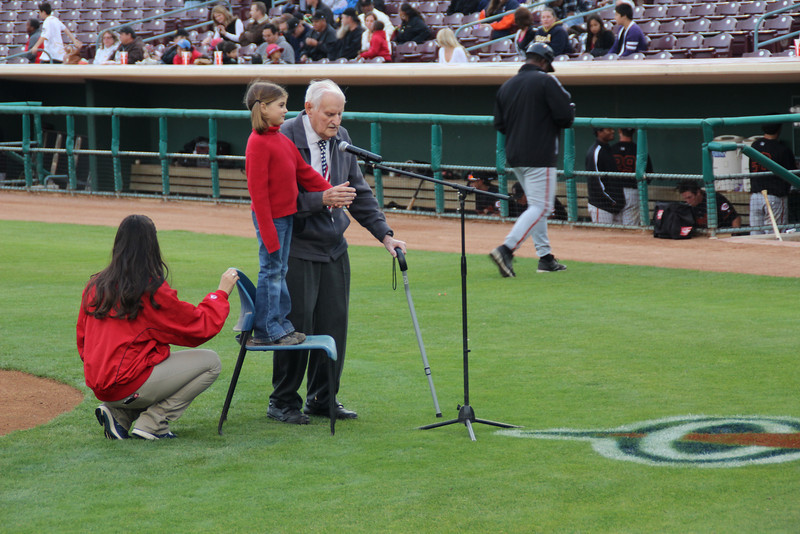 89 1/2 year old Norm and great granddaughter 7 1/2 year old Sydney sang the National Anthem for the Inland Empire 66ers baseball game - 25