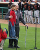 89 1/2 year old Norm and great granddaughter 7 1/2 year old Sydney sang the National Anthem for the Inland Empire 66ers baseball game - 27 (cropped)