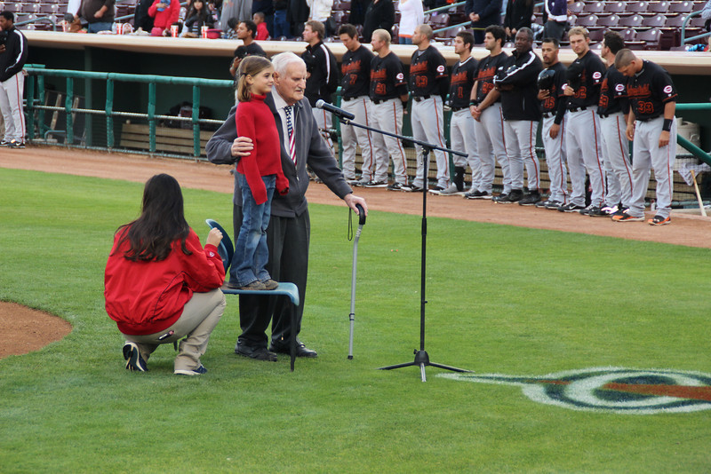 89 1/2 year old Norm and great granddaughter 7 1/2 year old Sydney sang the National Anthem for the Inland Empire 66ers baseball game - 26