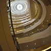 This is the view looking up in the Nordstrom store, with the spiriling escalators and the domed top.