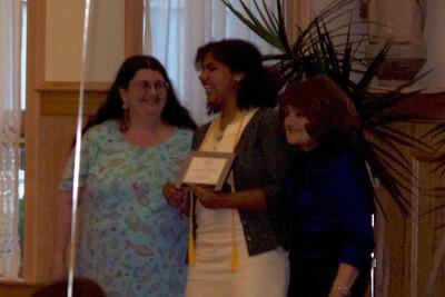 Samantha receiving her English award