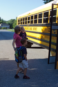 K.C. begins his first day of kindergarten with a bus ride to school.