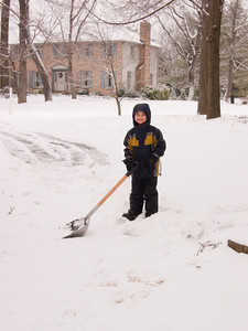 K.C. helps out with snow removal.