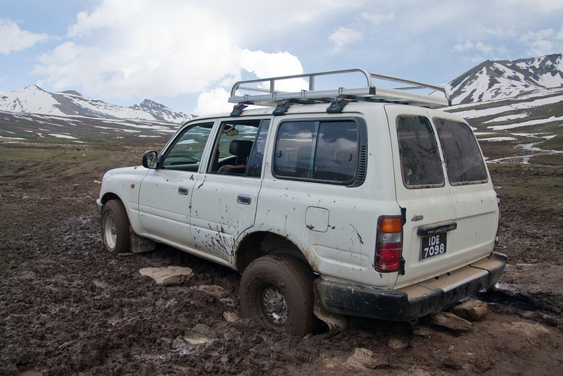 The track we were following deteriorated and eventually the Land Cruiser got stuck in the mud (even with 4wd)!