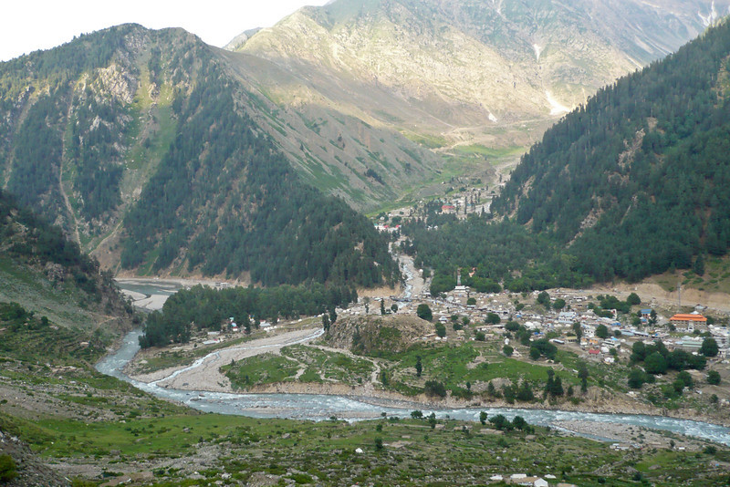 The beautiful town of Naran, at 8000 feet, where we spent about 4 weeks altogether. Most of the town is actually out of view to the right. The valley in the background leads up to Lake Saiful Maluk. The main river in the foreground is the Kunhar River, flowing through the Kaghan Valley; to the left is the Babusar Pass, and to the right is Balakot and Pindi.