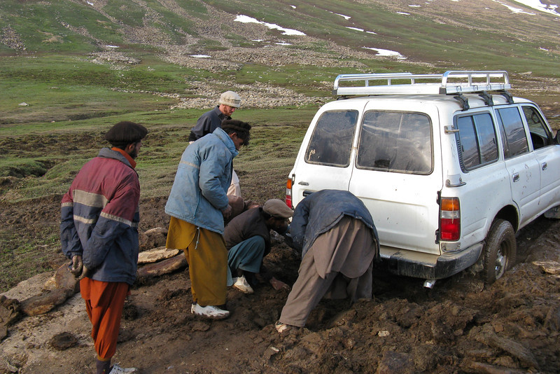 We found some men from a nearby Gujar encampment who were willing to help dig us out with a shovel they had (for a lot of money!).  By the time we were free, we had been stuck for about three hours.