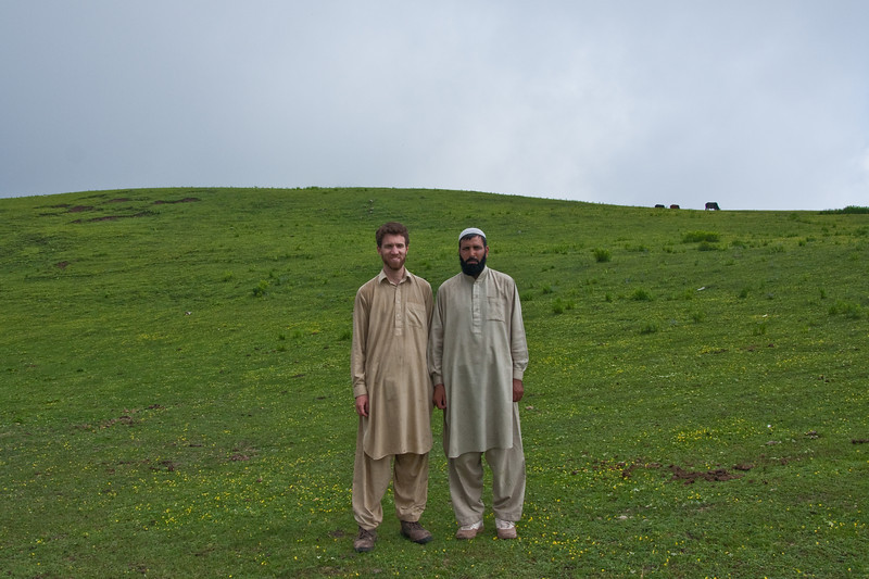 Javed and me, taking a break from playing cricket to pose for a photo.