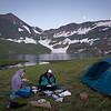 Erin and Basheer, enjoying dinner next to Basheer's tent as the moon rises over the mountains. Basheer and our horse-walla, Ashraf, both slept in this tent. The two of them did all the cooking for us.