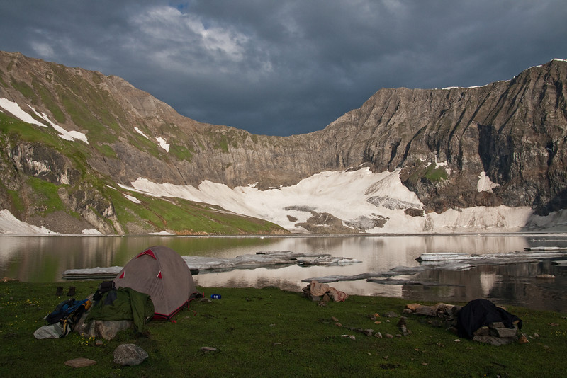 Our tent on the shore of Dawarian Lake. We had put all our stuff out to dry since it had rained the last few hours of that day's hike.
