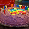 Mimi made me a red cake with purple icing!
