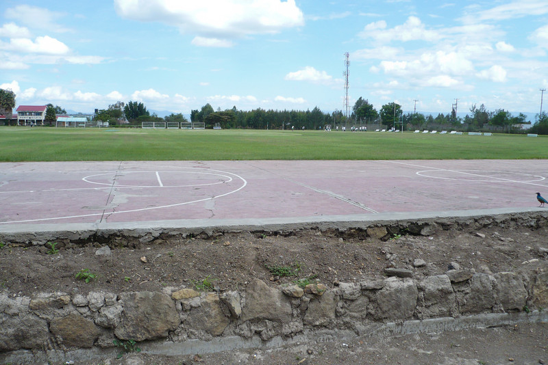 The basketball court. There should be a pavilion in this picture, but alas, it is no more.