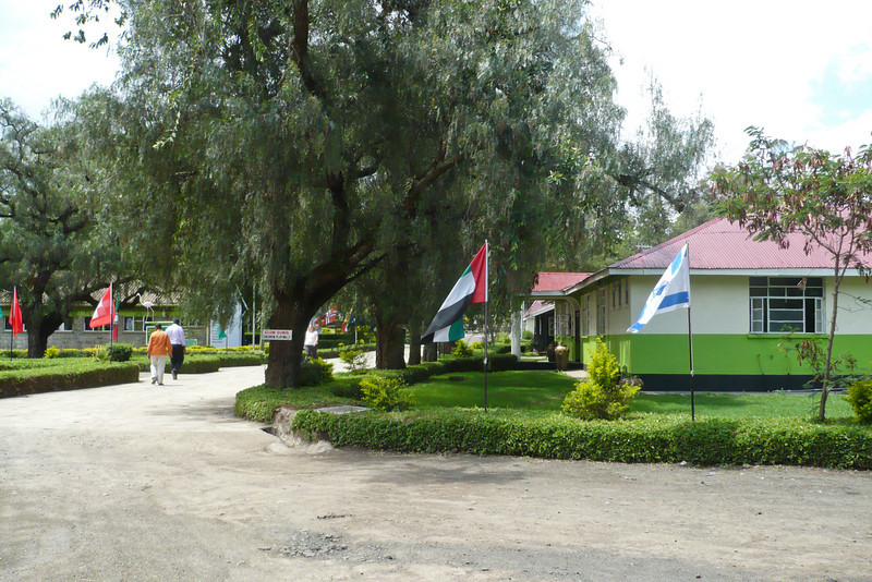 The school's name is now Greensteds International School, and they had flags of (almost) every country in the world around the campus. The building on the right is new. The reception office is to the left of the picture and in the distance on the left are the science labs.