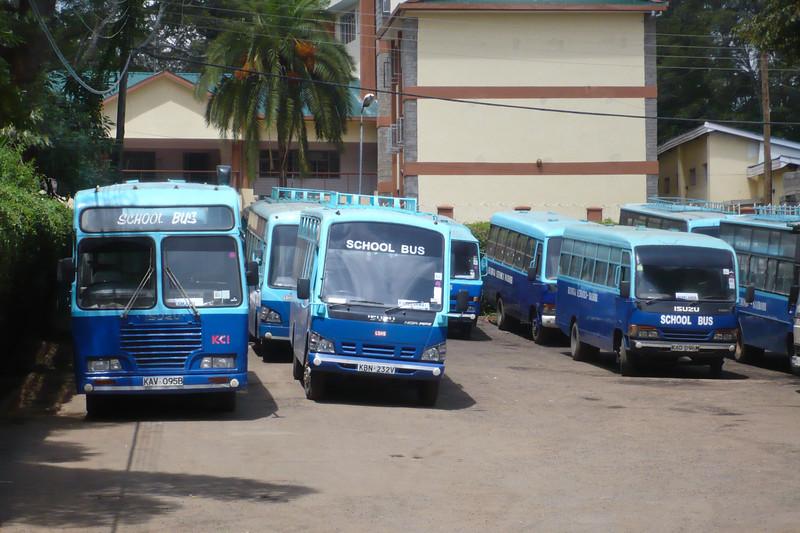 Rusinga School - a huge fleet of buses