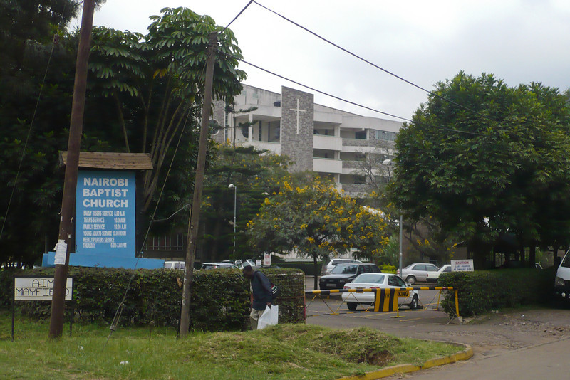 Nairobi Baptist Church - they have four weekly services. In the background is the huge new sanctuary.