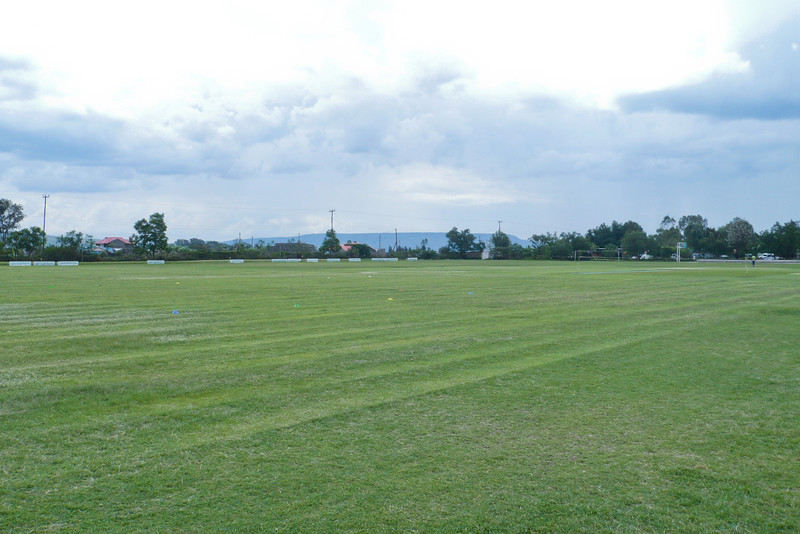 Looking across the sports fields to Menengai. What's missing in this picture? The pavilion!