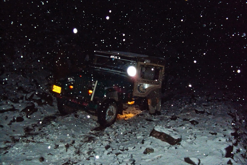 Soon it started to snow! The jeep began slipping and sliding on the narrow mountain road.