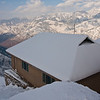 The school building, looking out over the snowy mountains
