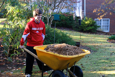 Andrew moves mulch