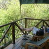 Relaxing on the veranda of our tent