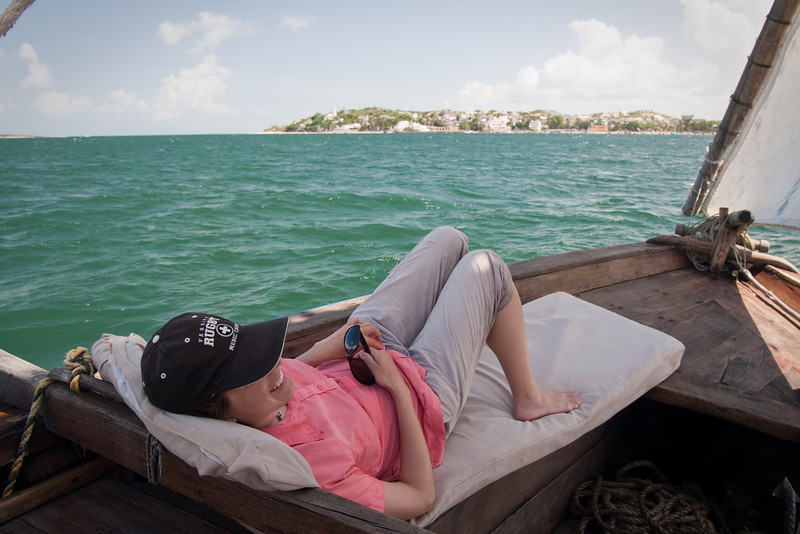 Erin relaxing on the boat as we head back towards Shela Beach