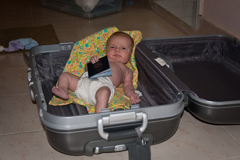 Ready for a trip! Hopefully she'll be going to Thailand in January...