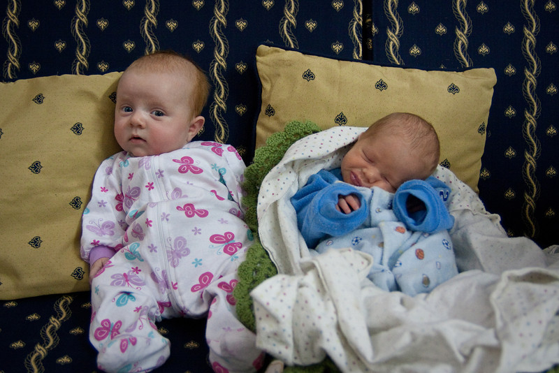 Sienna with her friend Ephraim. Ephraim is the newest member of the James family, our teammates. He was born a month premature but still weighed more than Sienna did at birth! In this picture Ephraim is about 10 days old and 5 1/2 lbs. Sienna is 2 months old and 10 1/2 lbs.