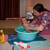 Sienna's first real bath!