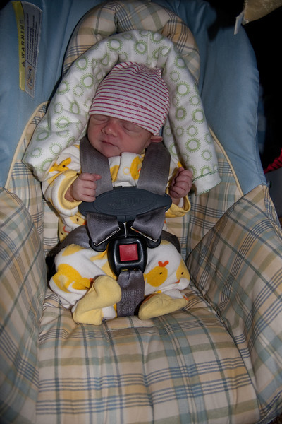 Here she is in the bottom of her car seat. Her legs are supposed to be sticking up the near side of the car seat (at the bottom of the image) - but as you can see, they don't extend very far! You can hardly see her behind all the seat belts.