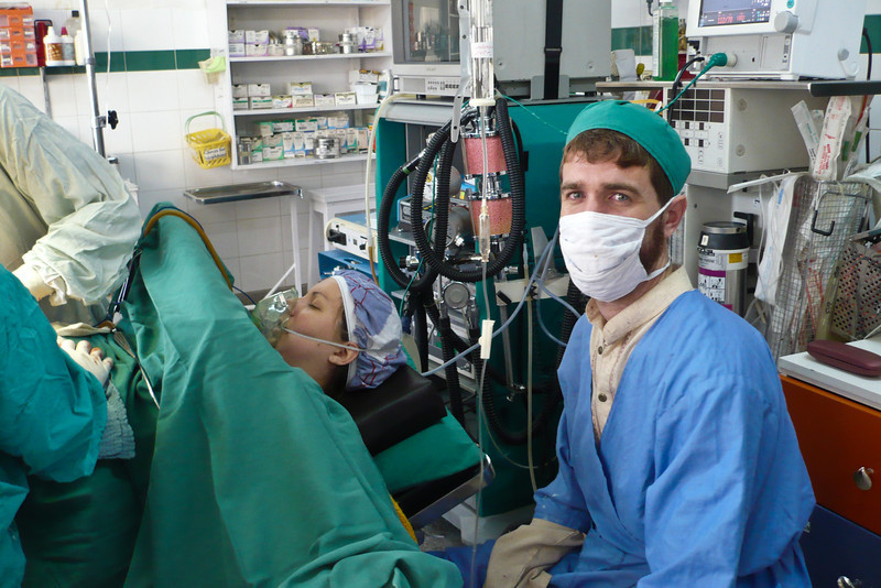 I got to sit next to Erin in the operating theater, so I could hold her hand and talk to her. I think I look kind of nervous in this picture!