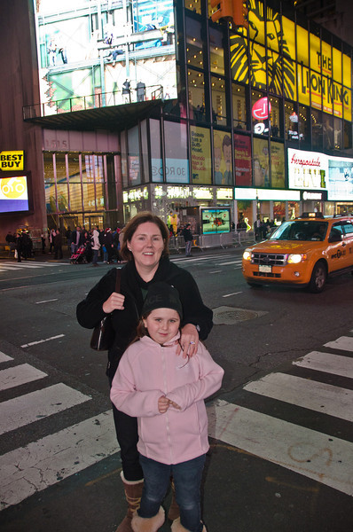 Claiire and Sinead in Time Square.