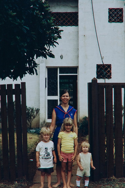 Mom, Annie, Jimmy and Lisa on our front walkway, around 1984-1985