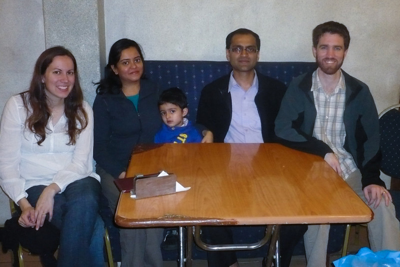 Erin and me with Vijay and Kirti Vora, and their son, in 2011