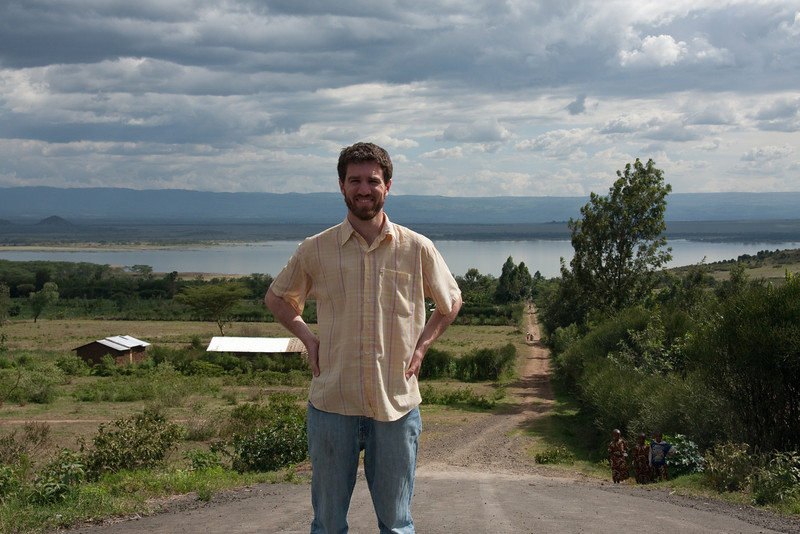 Jimmy by the same dirt road in front of Lake Elementaita, 2011. The buildings behind me are also visible in the previous pictures.
