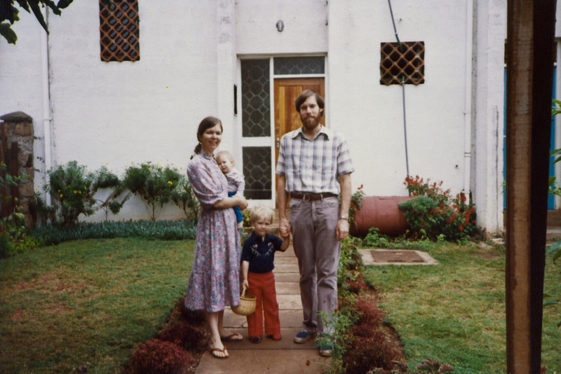 Dad, Mom, Jimmy and Lisa in the front yard, around 1983. (Where was Annie?)