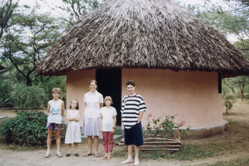 Jimmy, Julie, Annie, Lisa and Richard Traber, at Robert's Camp, Lake Baringo, 1993. They have four or five bandas there, and I'm not sure if this banda is the same one that's in the last picture or not.
