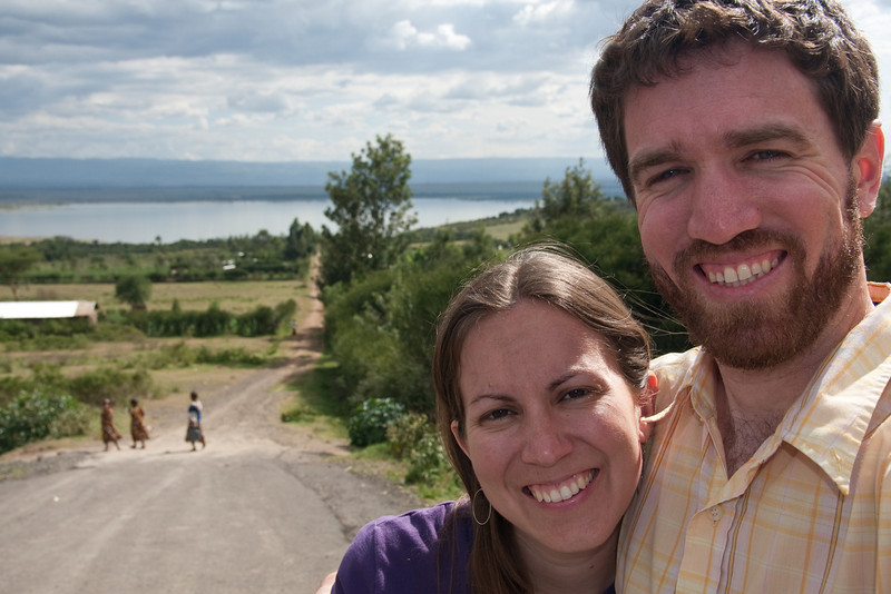Erin and Jimmy by the dirt road, Lake Elementaita, 2011