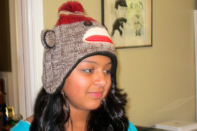 Jackie with her monkey hat 001