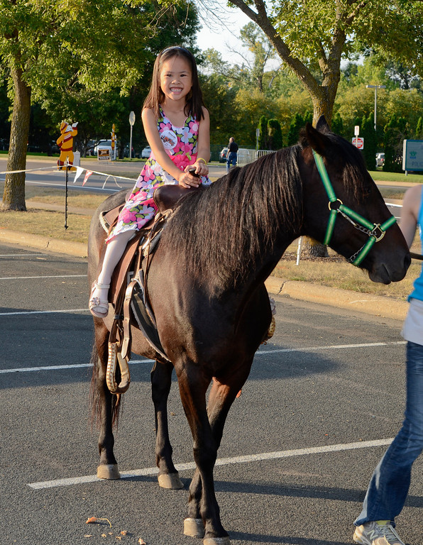 Burnsville Fire Muster, 2011--Lindsay riding a bigger pony than the year before