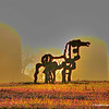 """In the fields to the east of Ga. Hwy 15 at this spot, a giant iron sculpture of a horse has stood since 1959. Created by Abbott Pattison, the stylized 10 foot high, two ton horse was originally placed in front of Reed Hall on the University of Georgia campus in nearby Athens, May 25, 1954. However students rioted over placement of the horse after hearing of disparaging remarks by the artist of UGA in general and the students in particular. That night the horse was vandalized in various ways including spray paint, manure and even an attempt to burn it via bonfire. University officials removed the sculpture the next day. In 1959 the iron horse was taken from its storage site in secret and moved to this spot, then owned by L.C. Curtis of the university's horticulture department, where it has remained to this day."" <a href=""http://wikimapia.org/6366191/Iron-Horse-Sculpture"">http://wikimapia.org/6366191/Iron-Horse-Sculpture</a>"