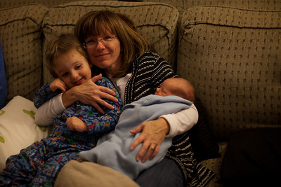 Cindy Grabiec holding Henry and Hunter at our house in Mattoon, Illinois on November 18,  2011. (Jay Grabiec)