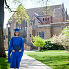 Jill Grabiec poses for a photo in front of Booth Library after receiving her Masters in Public Administration at the EIU Spring Commencement Ceremony on May 7, 2011.  (Jay Grabiec)