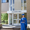 Jill Grabiec poses for a photo in front of Coleman Hall after receiving her Masters in Public Administration at the EIU Spring Commencement Ceremony on May 7, 2011.  (Jay Grabiec)