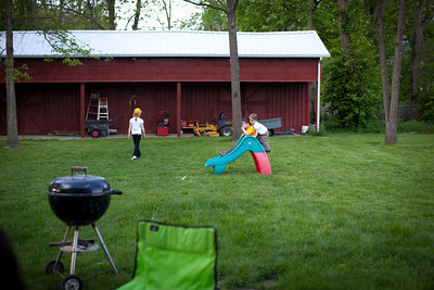 The kids playing in the  yard during a family party on May 7, 2011.  (Jay Grabiec)
