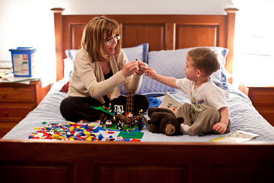 Mom and Hunter playing with Legos on May 7, 2011.  (Jay Grabiec)