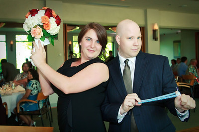 Erica and Andrew, catchers of the boquet and garter