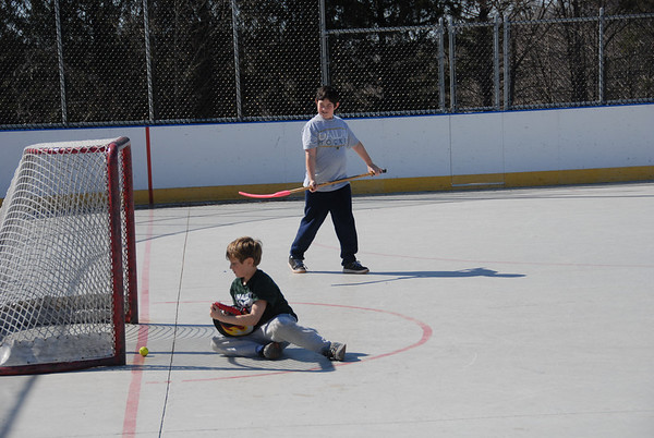 2012-03-11 Jordan and Eli Hockey at Morris County Central Park