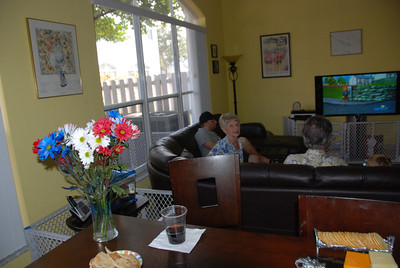 Grandma Myrna settles in with the boys watching cartoons....